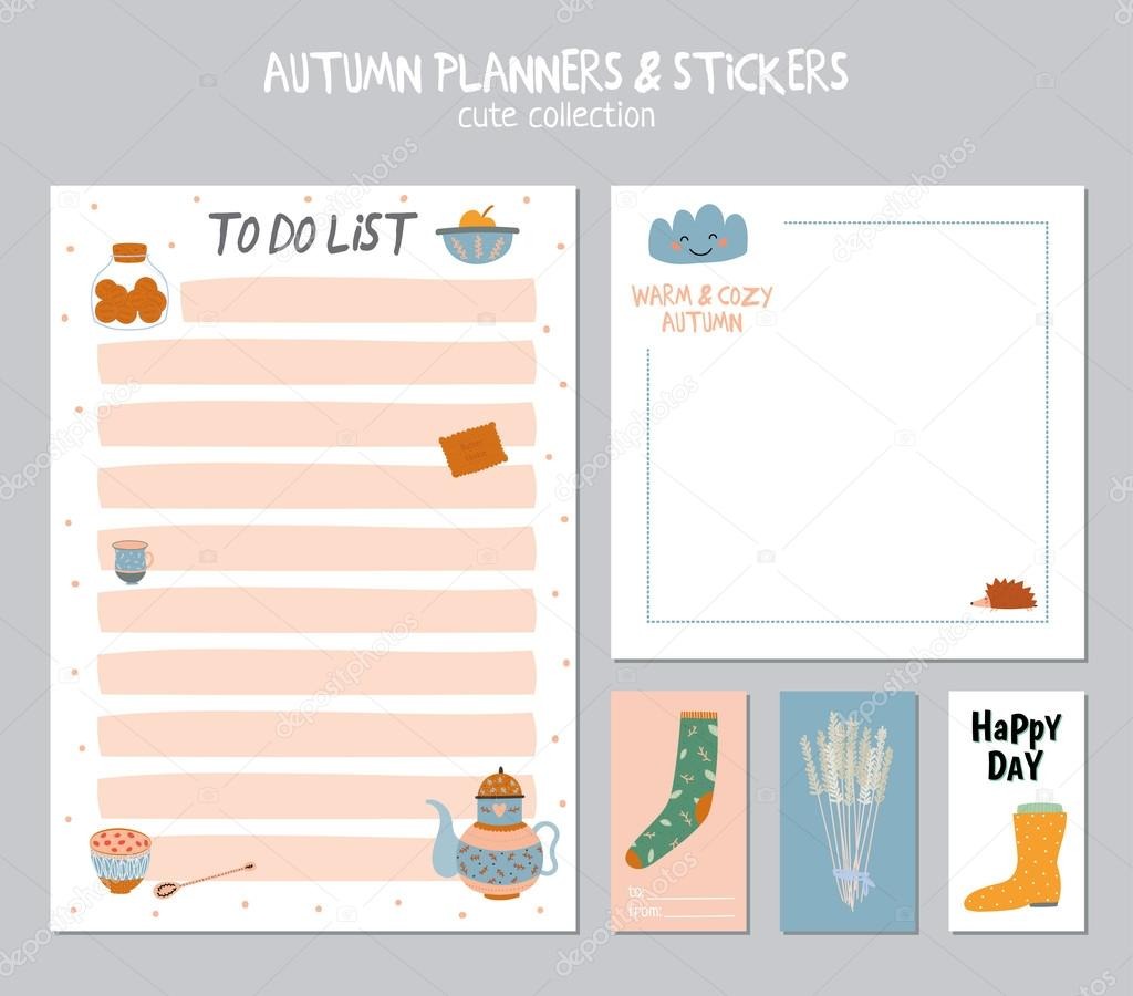 Cute Daily Calendar and To Do List Template — Stock Vector