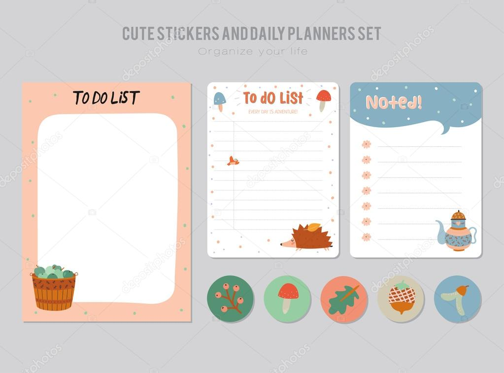 cute daily calendar and to do list template stock vector