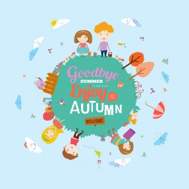 Set of vector design seamless banners in a cute and cartoon style with place for text. Bright background with funny animals and happy kids welcome to school. Goodbye summer. Hello autumn. clip art vector