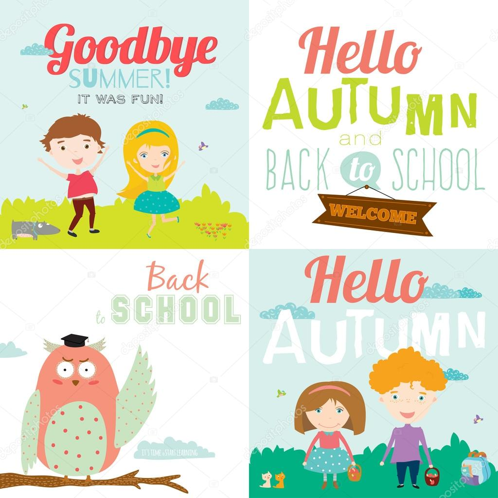 Bright Background With Funny Animals And Happy Kids Welcome To School.  Goodbye Summer. Hello Autumn.