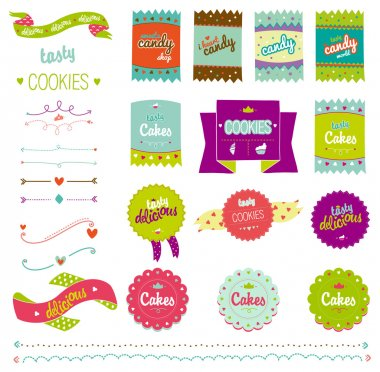 Food collection of badges, labels, tags with tasty cookies.
