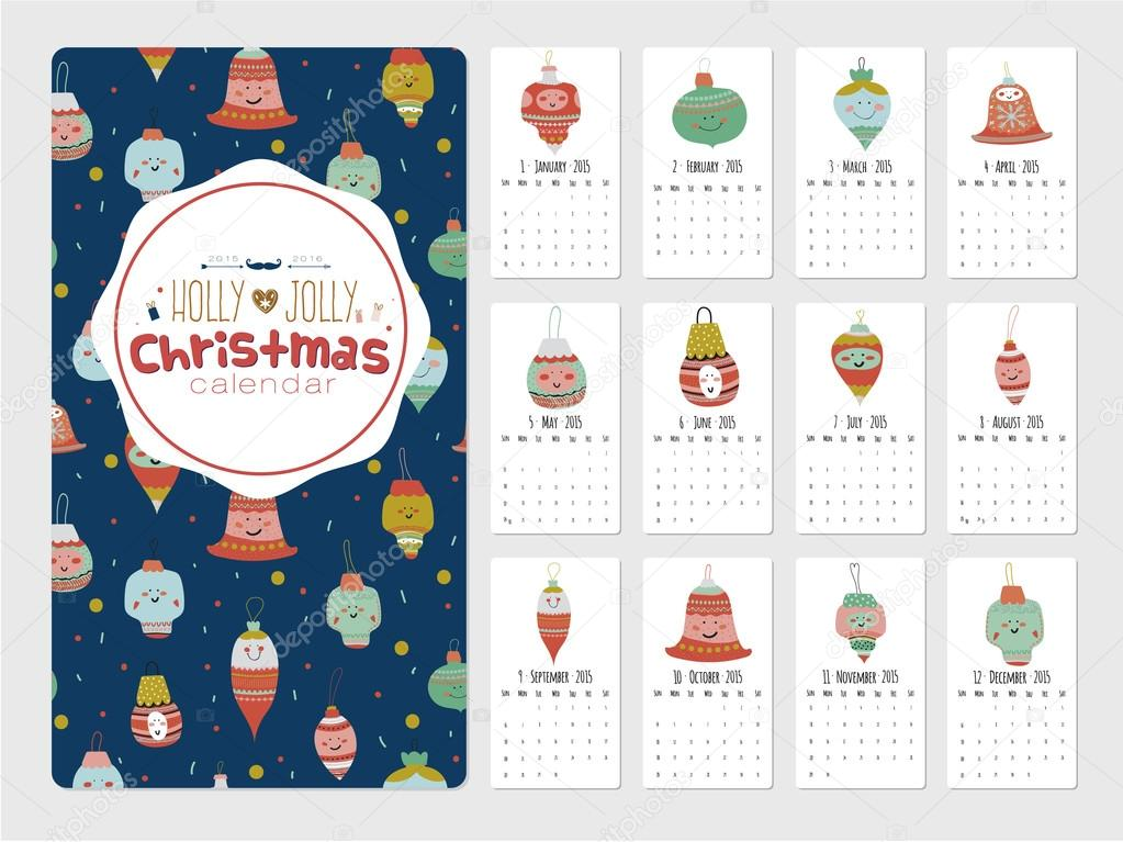 Vintage Weihnachten und neues Jahr Gruß Kalender für das Jahr 2015 ...