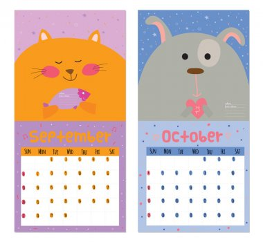 Unusual calendar for 2015 with cartoon and funny animals.