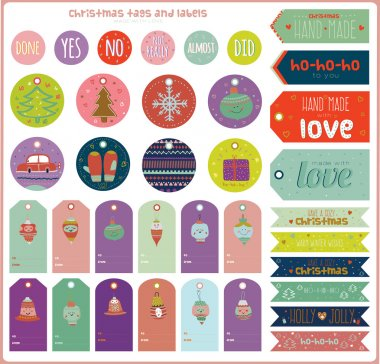 Christmas and New Year greeting stickers