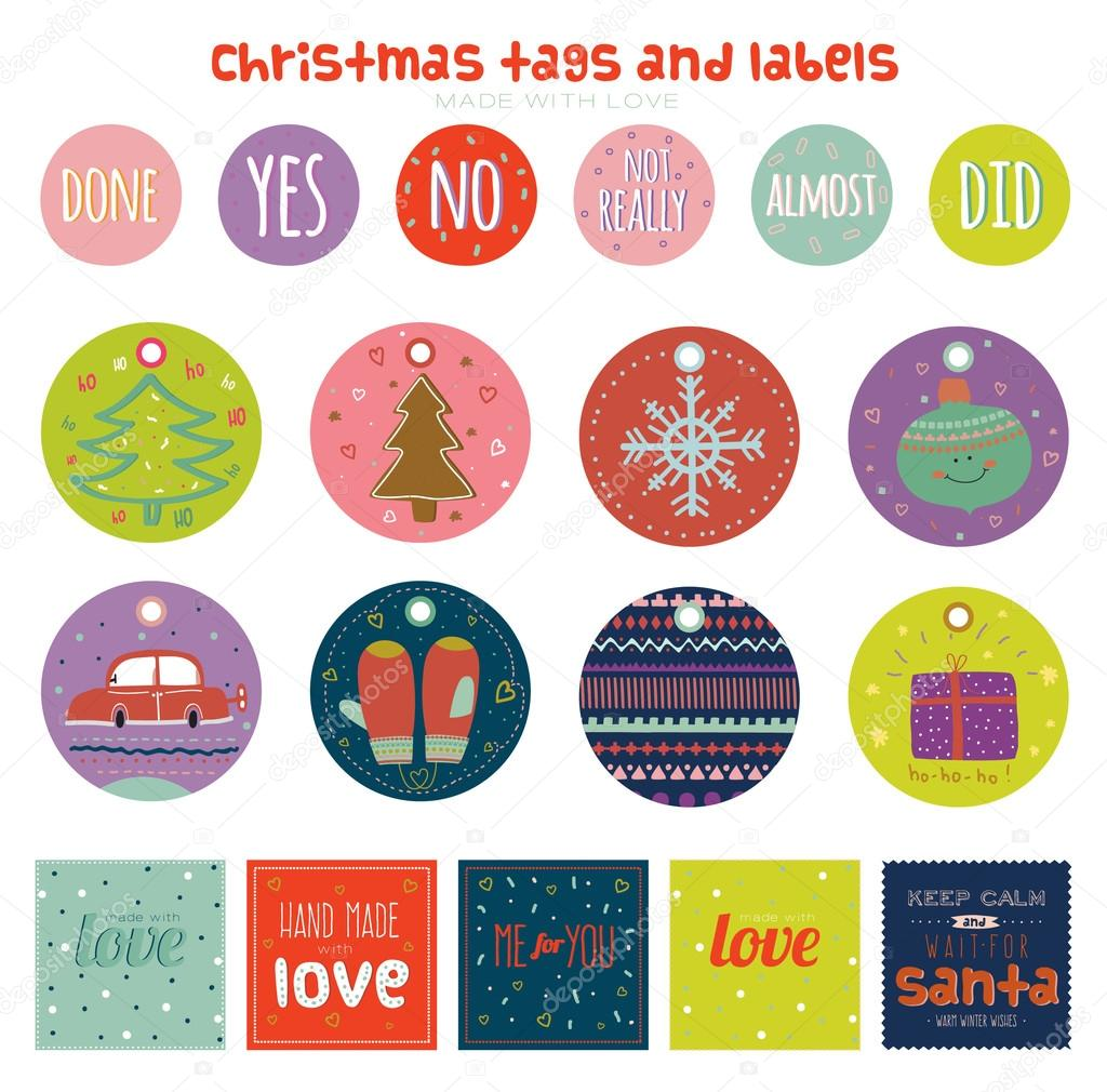 Christmas and New Year greeting stickers — Stock Vector ...