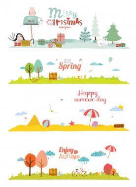 Seamless vector seasons banners in a cute and cartoon style with place for text. Summer, autumn, winter, spring. stock vector