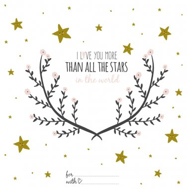 Romantic poster with  stars