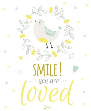 Greeting card with cute and funny vector illustration. Inspirational and motivational quotes posters. Good for happy birthday greetings and other holidays. Children's subjects. clip art vector