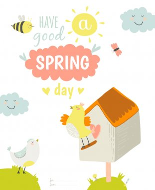 Greeting card with Summer illustration