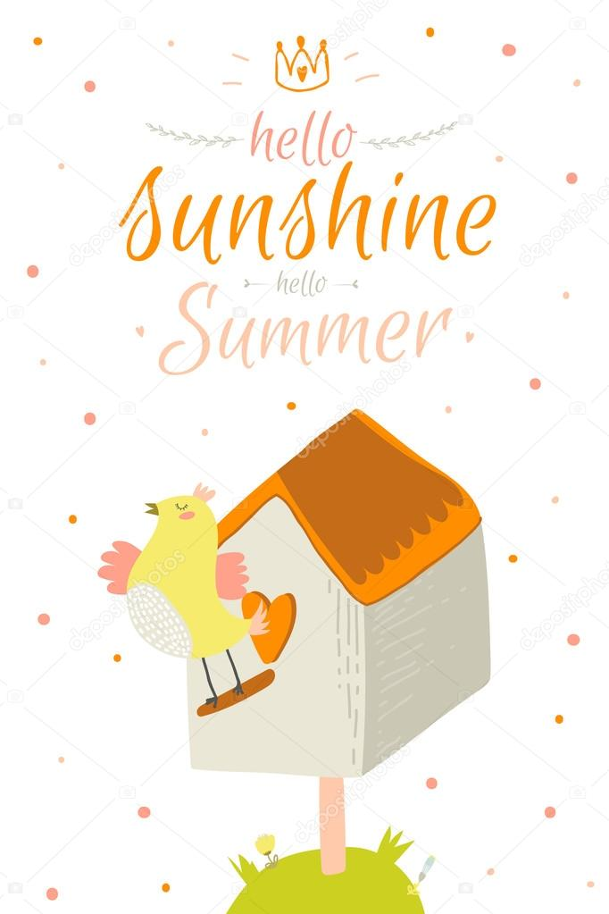 Greeting Card With Cute And Funny Vector Summer Illustration. Inspirational  And Motivational Quotes Poster. Good For Happy Birthday Greetings And Other  ...