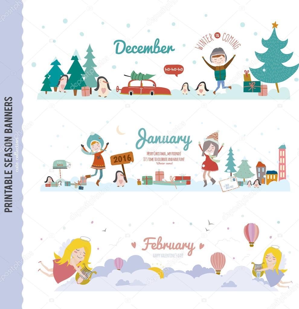 Set of Three Monthly Seasonally Banners