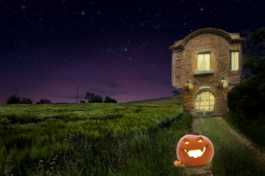 A pumpkin on the road of old vintage medievalhouse beside wheat field with warm light inside at night