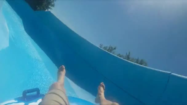 POV shot of two guys using slide in water park
