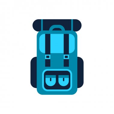 Blue camping backpack. Outdoor hiking knapsack with sleeping bag. Tourism and travel equipment. Mountain climbing gear. Rucksack, a bag with shoulder straps. Vector illustration, flat, clip art. icon