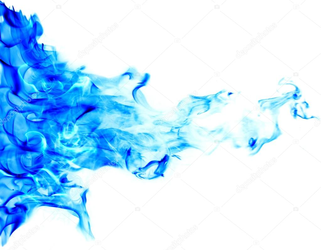 Blue flames on white background isolated. Blue fire ...