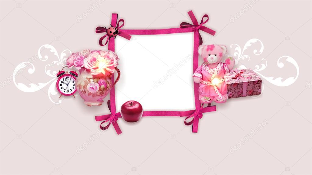 Pink frame for girls — Stock Photo © AVER #60538645