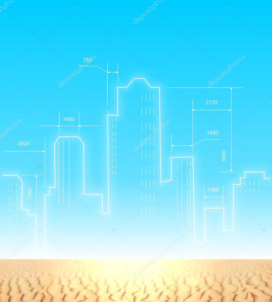Architectural plan of the future city in the desert. Silhouettes of modern skyscrapers high above the Golden sand against the cloudless blue sky. Drawing a new city with white lines.