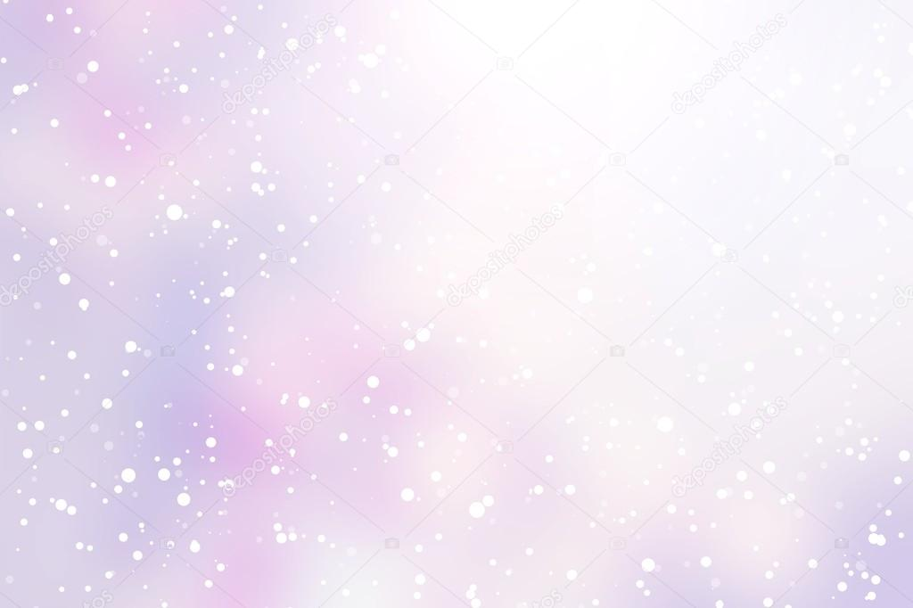 Light purple silver winter background. Light snow falls and glitters.