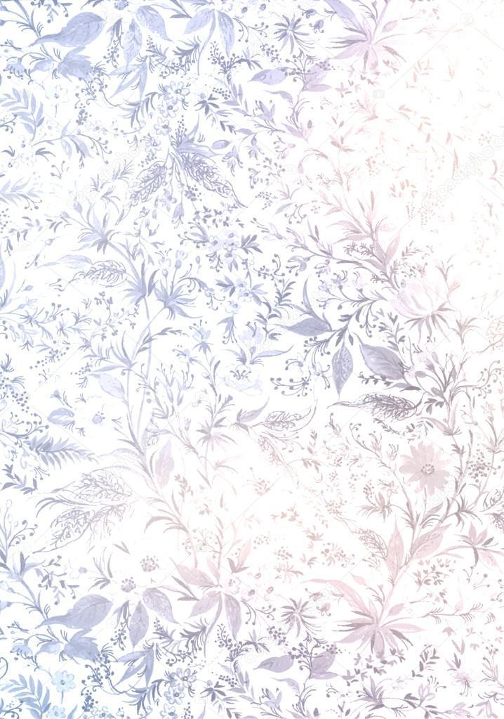 Light Blue Floral Pattern On A White Background Vintage
