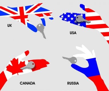 Purchase of real estate or other private property in Russia, USA, UK, Canada. Hands national flags holding the keys on a gray background isolated.