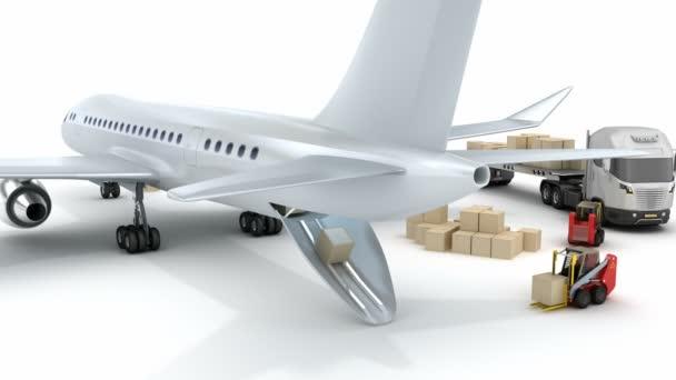 Flughafen: Gabelstapler beladen das Flugzeug. mein eigener Entwurf