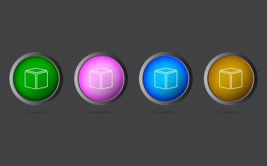 Very Useful Editable Box Line Icon on 4 Colored Buttons. icon