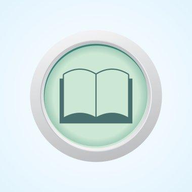 Editable Vector Icon of book on Button. Eps-10.