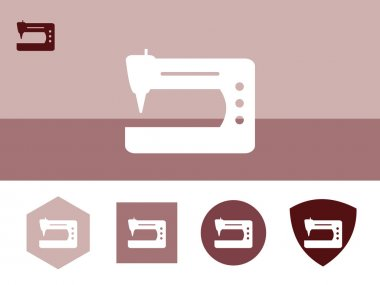Sewing machine icon on colorful background with 4 shapes buttons. Eps-10.