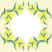 Fényképek MIMÓZA virág keretben és a pontozott háttér