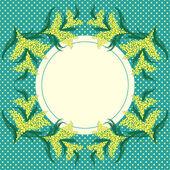Fényképek MIMÓZA virág keret és a pontozott háttér
