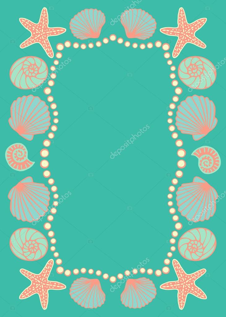 Invitation wedding card turquoise background stock vector greeting card sea beach theme frame with seashell printable for universal size 127x178 mm vector illustration vector by olgart stopboris Gallery