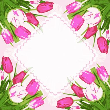 Frame decoration tulips flowers