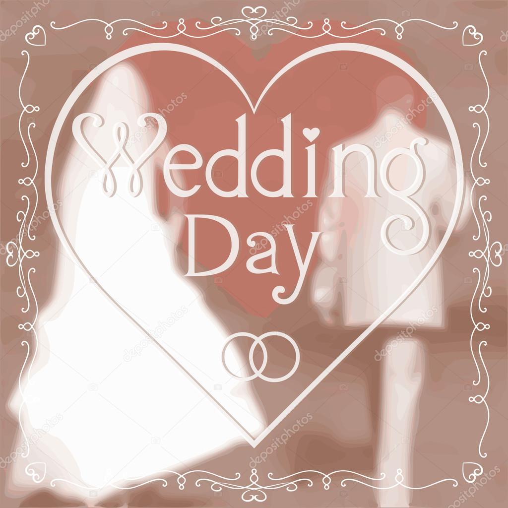 Wedding greeting card  Romantic Groom and Bride — Stock