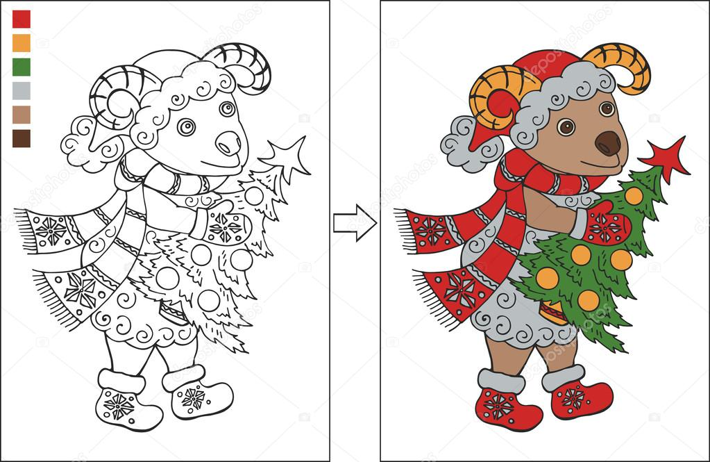 Coloring page with New year ram