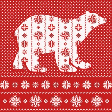 Christmas card with ornamental polar bear