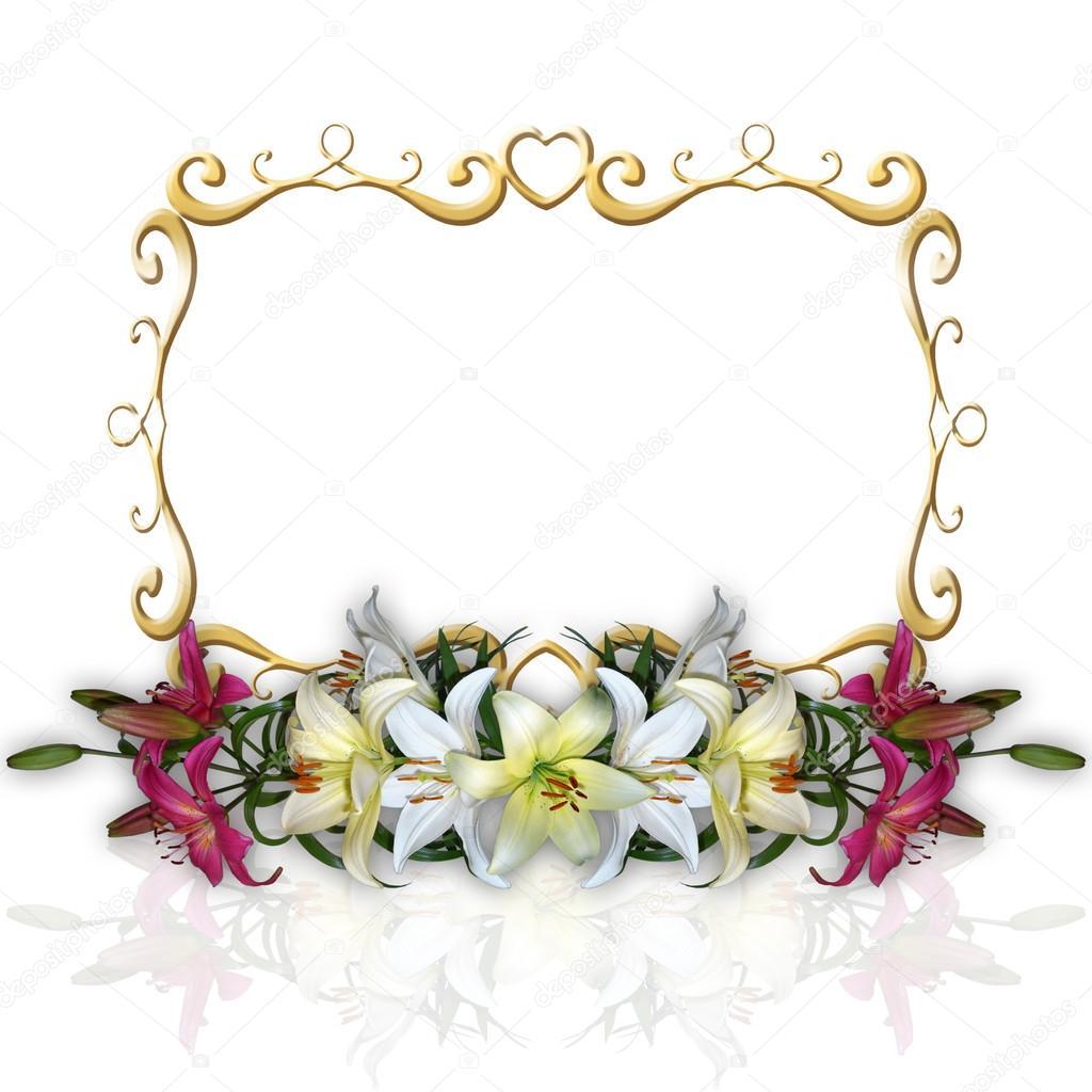 Flores De Lírios E Moldura De Ouro