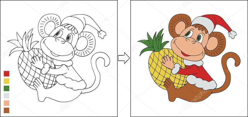 Página para colorear con mono de año nuevo — Archivo Imágenes ...