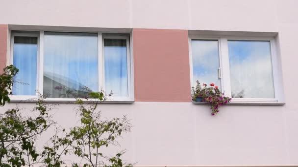 Zblízka natočil dvě prosklené okna Sovětského svazu obytné budovy. Exteriér s barevnými kaštanovými pruhy a květináči na oknech a balkónech. Stavební prvky vnější zelená stěna
