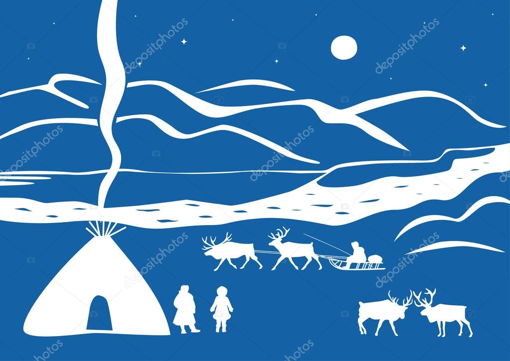 Northern landscape with the Chukchi and deer
