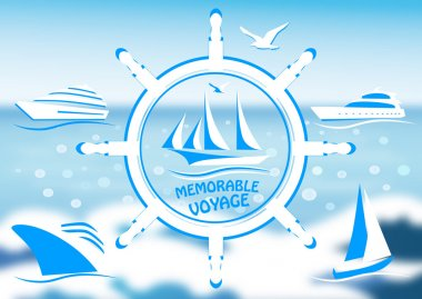 Logo with a sailing vessel and steering wheel