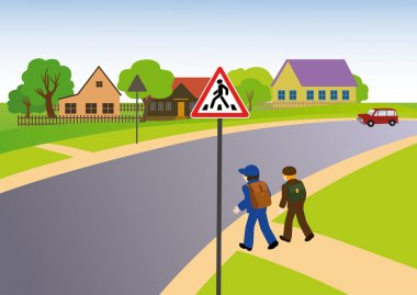 Rules of road. Pedestrian crossing in the countryside.