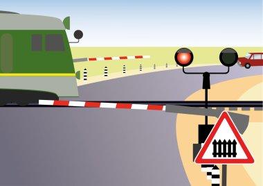 Regulated railway crossing. Rules of road.