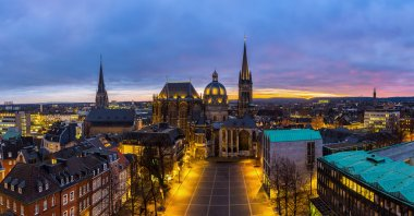 Aachen cathedral at sunset panorama