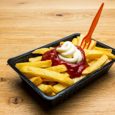 french fries red - white