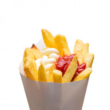 potato fries with mayonnaise and ketchup