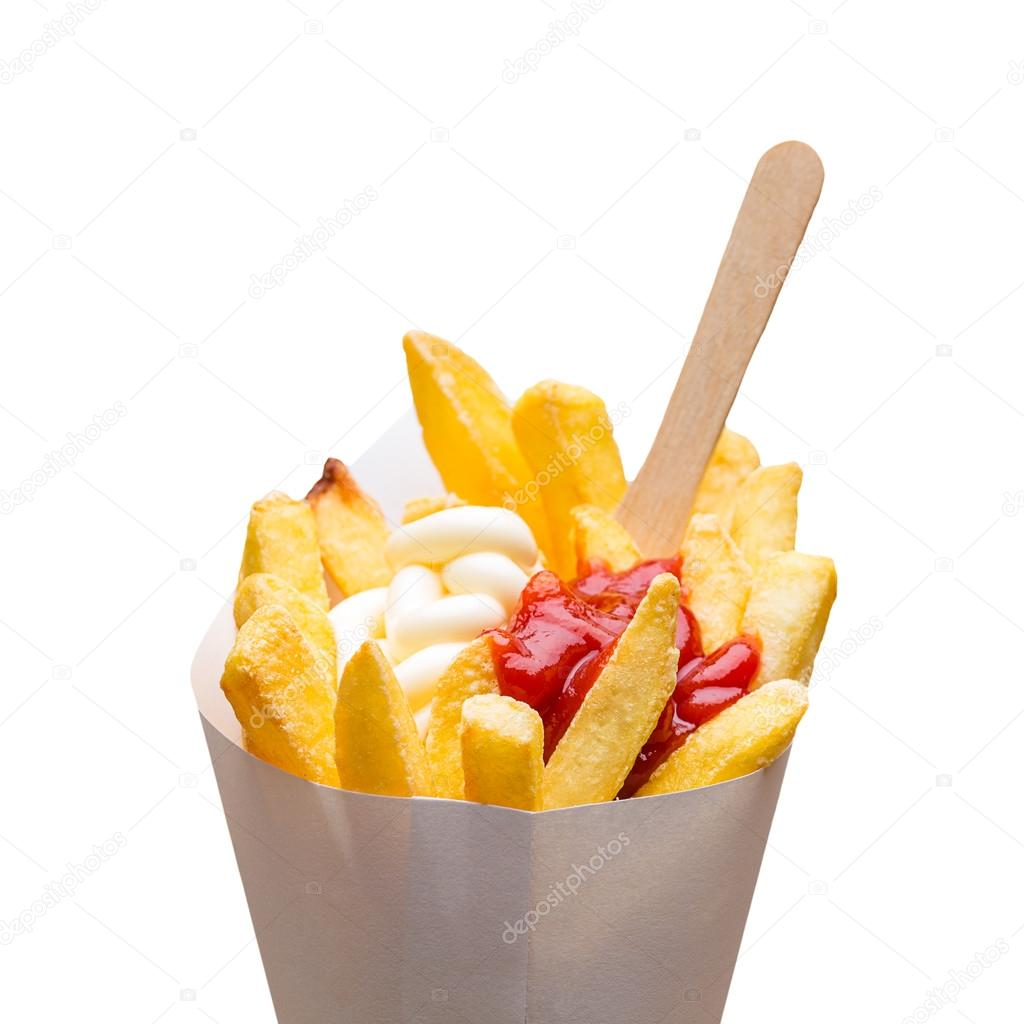 pommes frites pommes portion mit ketchup und mayonnaise stockfoto rclassenlayouts 69398129. Black Bedroom Furniture Sets. Home Design Ideas