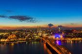 Fotografie Kölner Dom und Hohenzollern bei Sonnenuntergang