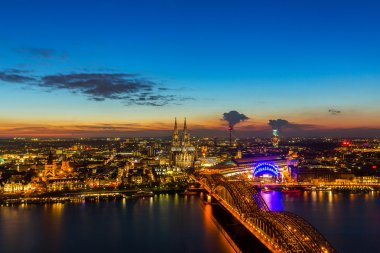 Cologne Cathedral and Hohenzollern at sunset