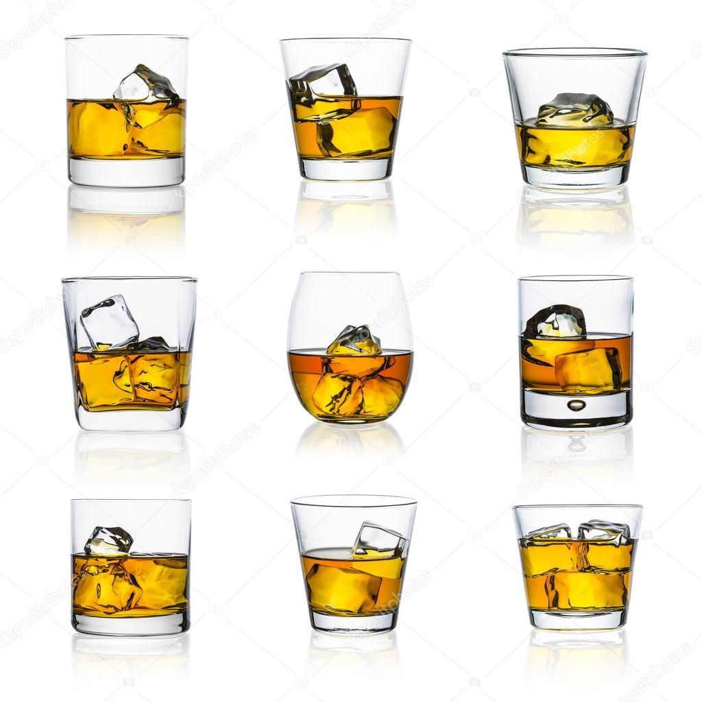 whiskey glasses on white set