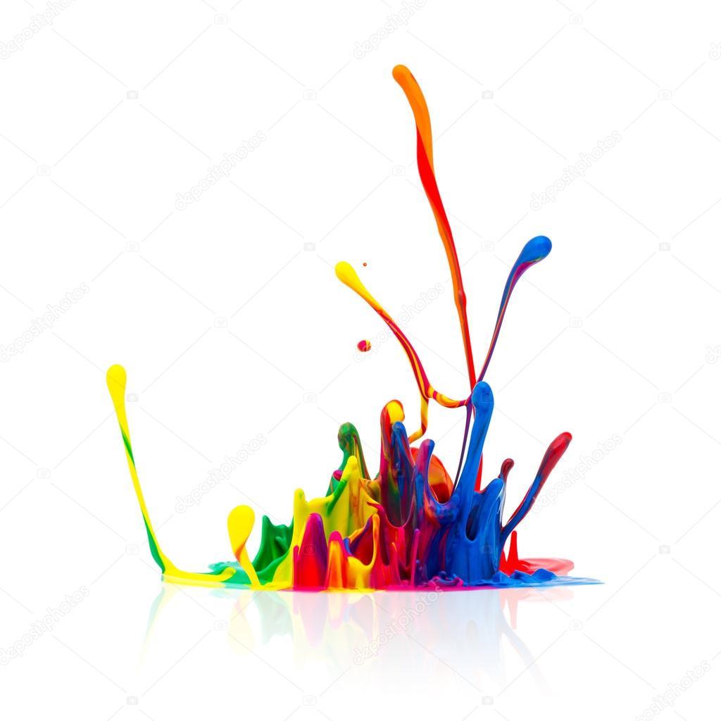 Colorful Paint Splash Isolated On White Stock Photo